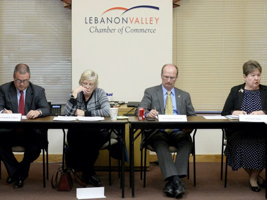 Democratic candidates for Lebanon County commissioner, from left, Chris Tarsa, Kathy Pflueger, Ralph Duquette and incumbent Jo Ellen Litz are pictured at the Lebanon Valley Chamber of Commerce candidates forum Thursday at the chamber headquarters in Lebanon.