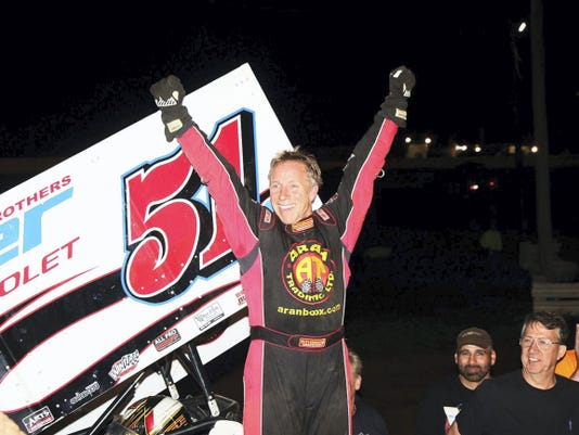 Stevie Smith celebrates after a win on his way to the Speedweek title.