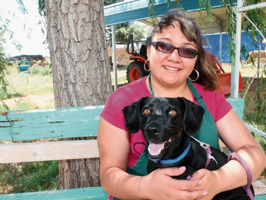 Jazmine Castillo, a student in transition to employment from the NM Commission for the Blind, holds Webster on Wednesday afternoon. Webster is a dachshund at Animal Village NM and is waiting for a loving family to adopt him.