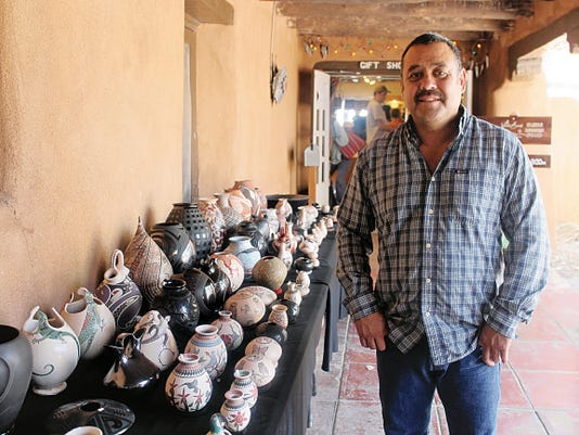 Damian Quezada, nephew of Juan Quezada, who is credited for reviving the traditional Hispanic pottery, showcased his work at White Sands National Monument during the Mexican Craft Show.