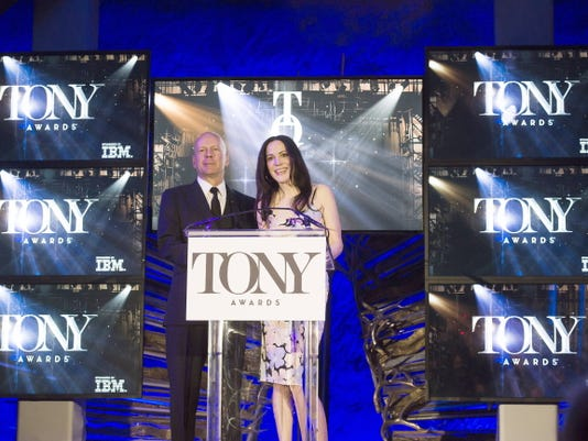 Bruce Willis and Mary-Louise Parker announce the 69th Annual Tony Award nominations at The Paramount Hotel on Tuesday, April 28, 2015, in New York.