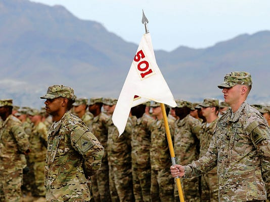 RUBEN R. RAMIREZ—EL PASO TIMES Soldiers stand at attention as the 4th Battalion, 501st Aviation Regiment was inactivated and reflagged as the 1st Battalion, 501st Aviation Regiment. The battalion will keep the Pistoleros as its nickname.
