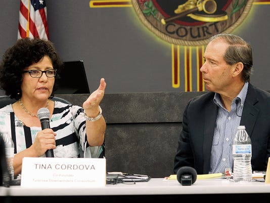 Tina Cordova, co-founder of the Tularosa Basin Downwinders, spoke to Udall on Wednesday evening urging him to take back their message to D.C. and to his colleagues.