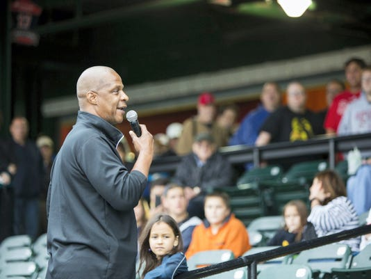 Former major league All-Star and ordained minister Darryl Strawberry speaks Saturday at Santander Stadium in York before a scheduled York Revolution game. The game was rained out, but Strawberry still spoke to more than a 1,000 fans as part of the York Revolution's Faith and Family Night.