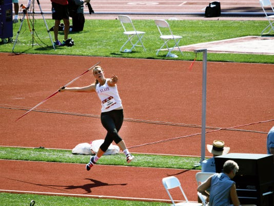 Photo courtesy of Kris Farmer   New Mexico State's Kayli Farmer competes in javelin at the USA Track and Field Junior Championships on June 27 in Eugene, Ore. Farmer finshed second with a throw of 157 feet, 3 inches and earned a spot to represent the United States at the Junior Pan American Games on July 31-Aug. 2 in Edmonton, Alberta, Canada.