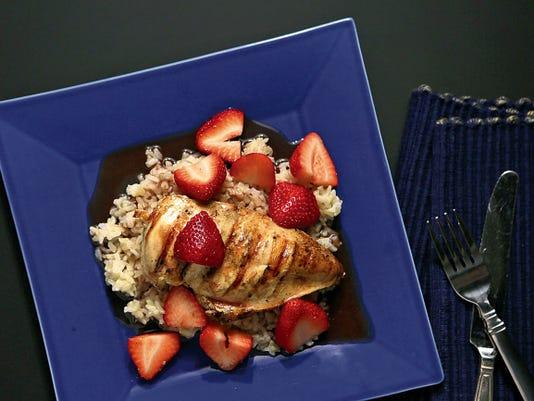Grilled Chicken Breasts with Strawberry Red-Wine Balsmic Sauce. (Huy Mach/St. Louis Post-Dispatch/TNS)
