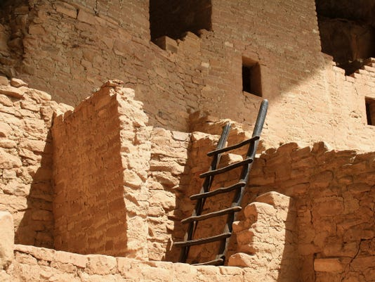 """""""Ladder: Mesa Verde Cliff Palace, Colo."""" is among works by Renee Popovich  featured in her one-woman show at LuLu Fine Art Gallery."""