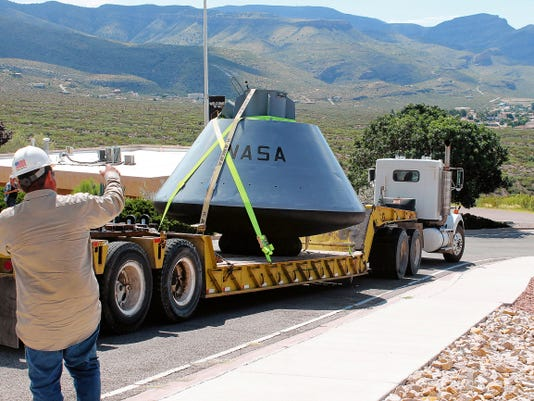 Mesa Verde Inc., which donated all of their time and equipment to move BP-1207 from the New Mexico Museum of Space History to Holloman Air Force Base and back, delivered the boilerplate to the museum on Wednesday.