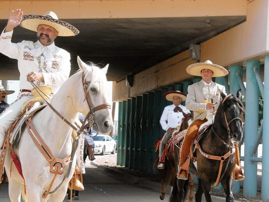 SARAH MATOTT - CURRENT-ARGUS   Magistrate Judge Henry Castaneda rode in the LULAC Fiesta Parade as a traditional Vaquero on Saturday. The fiesta celebration continues today at the San Jose Park.