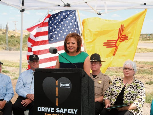 KATIE ENGLAND - CURRENT ARGUS   Gov. Susana Martinez announced a new road safety campaign on Monday for drivers in Southeast New Mexico.