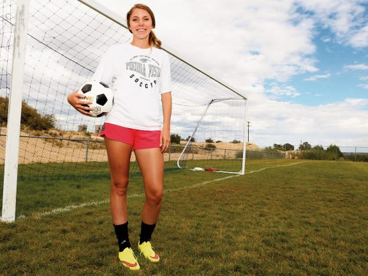 Piedra Vista midfielder Makeyan Kalmbach stands for a photo Monday at the Piedra Vista High School soccer fields in Farmington.