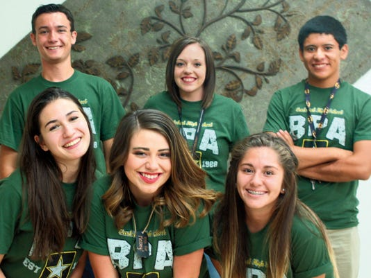 Business Professionals of America has elected their 2015-2016 junior officers from Carlsbad High School. Top row, left to right: Randy Folmar, Stormi Barnes, Christian Flaco. Bottom row, left to right: Victoria Pena-Parr, Kelsey Hernandez, Shianne Trevino.