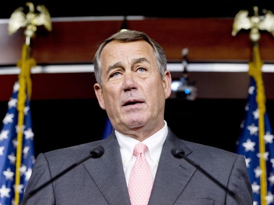 House Speaker John Boehner , R-Ohio, speaks during a news conference Friday on Capitol Hill in Washington. In a stunning move, Boehner informed fellow Republicans on Friday that he would resign from Congress at the end of October, stepping aside in the face of hardline conservative opposition that threatened an institutional crisis.
