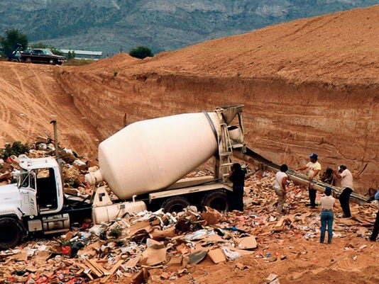The legendary cement truck that did cover hundreds of thousands of Atari cartridges in 1983 in the Alamogordo Landfill. Cement was poured on them to hide the biggest secret in the gaming world.