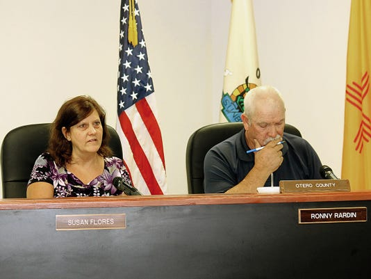 County Commissioner Susan Flores spoke about her family members who served in the military while County Chairman Ronny Rardin listened, she offered support for the Special Operations exercise.