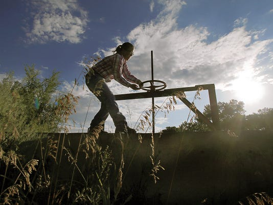 Marybeth Friis opens the the Sargent Ditch irrigation gate Saturday morning, allowing water from the Animas River to resupply her family's irrigation ditch system in Aztec.