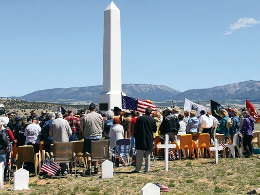 A crowd gathered Saturday for a Memorial Day service at historic Fort Stanton in Lincoln County.