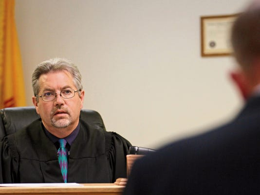 Judge Barry Sharer speaks during a May 7 preliminary hearing in Magistrate Court in Aztec.