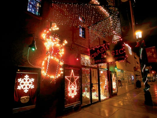 Crash Music's Christmas display is pictured Dec. 17, 2014, at 104 N. Main Ave. in Aztec.