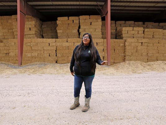 Cherie Bitsuie, alfalfa crop foreman, stands in front of hay on Tuesday at Navajo Agricultural Products Industry's Region II Scale in Farmington.
