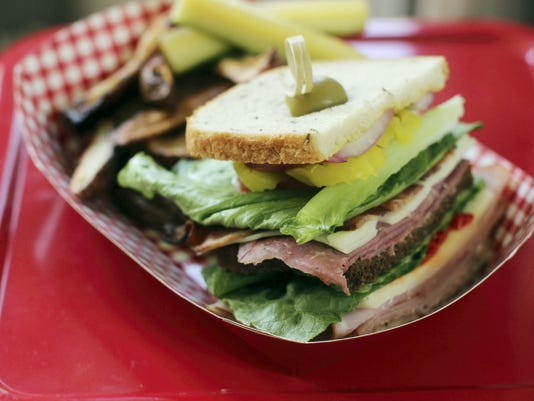 Father's Day Dagwood Sandwich in Concord, N.H. (AP Photo/Matthew Mead)