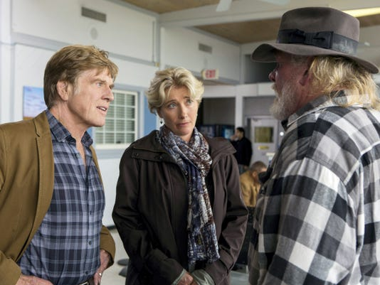 """This photo provided by Broad Green Pictures shows, Robert Redford, from left, as Bill Bryson, Emma Thompson as Cynthia Bryson and Nick Nolte as Stephen Katz in the film, """"A Walk in the Woods."""" The movie releases in U.S. theaters on Sept. 2, 2015. (Frank Masi, SMPSP/Broad Green Pictures via AP)"""
