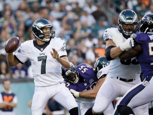 Philadelphia Eagles quarterback Sam Bradford looks to pass during the first half of Saturday's preseason game against Baltimore.