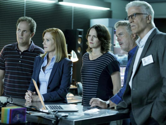 """From left, David Berman, from left, Marg Helgenberger, Jorja Fox, William Petersen and Ted Danson appear in a scene from the two-hour series finale of """"CSI: Crime Scene Investigation,"""" airing on Sunday at 9 p.m."""