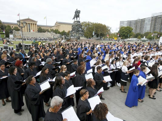 Choirs rehearse in front of the Philadelphia Museum of Art before the Papal Mass, Sunday, Sept. 27, 2015 in Philadelphia. Pope Francis is in Philadelphia for the last leg of his six-day visit to the United States. (AP Photo/Alex Brandon, Pool)