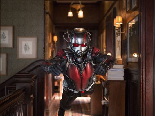 "This photo provided by Disney shows Paul Rudd as Scott Lang/Ant-Man in a scene from Marvel's ""Ant-Man."" The film releases in the U.S. on July 17, 2015."