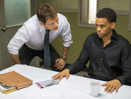 "In this photo provided by Sony/Screen Gems, Holt McCallany, left, as Detective Hansen, interogates Michael Ealy as Carter in Screen Gems' ""The Perfect Guy."""
