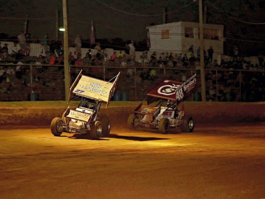 The 410 Sprint Cars circle the track during a recent race at Susquehanna Speedway.