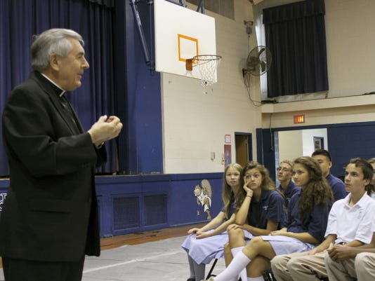 Bishop Ronald Gainer of the Diocese of Harrisburg addresses Lebanon Catholic School students this week.