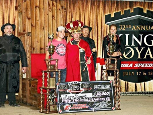 Shane Stewart, with the crown, poses in victory lane last weekend after winning a 50,000 check in the Kings Royal race for Sprint cars at Eldora Speedway. He is joined by car owner and NASCAR driver Kyle Larson, in ballcap.