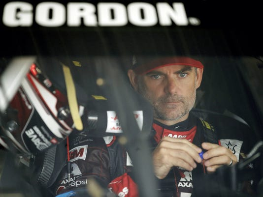 Jeff Gordon prepares for a practice session for today's Pocono 400 on Saturday in Long Pond.
