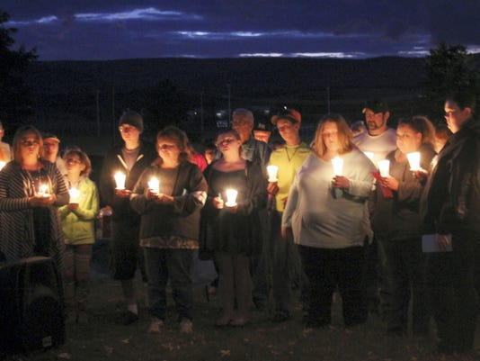 Friends and family gathered Sunday evening outside James Buchanan Middle School to remember 13-year-old Brandon Bishop, who died from cancer on Sept. 5.