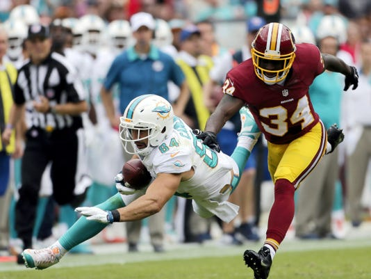 Miami tight end Jordan Cameron (84) catches a pass for a first down in front of Washington free safety Trenton Robinson during the second half of Sunday's game in Landover, Md. The Dolphins trailed by 10 points in the second quarter but rallied for a 17-10 victory.