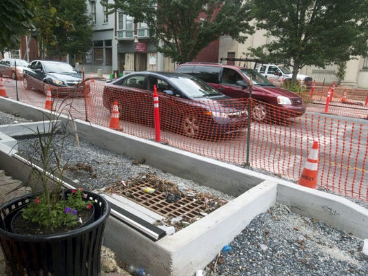 Rain garden water traps at Newberry and East Market streets in York will trap and delay water running down East Market Street on it's way to the Codorus Creek.