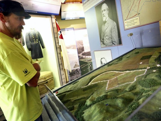 John Nolan, of Fairfield, checks out the electric map at the  Monocacy National Battlefield Visitor Center.