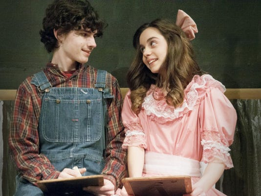 """Left, Joe Woloson as Tom Sawyer, and right, Olivia Gemma as Becky Thatcher perform in """"Tom Sawyer"""" at Dreamwrights."""