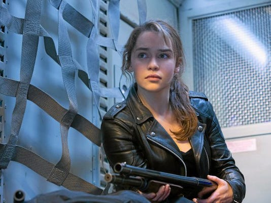 """This photo provided by Paramount Pictures shows, Emilia Clarke as Sarah Connor, in """"Terminator Genisys,"""" from Paramount Pictures and Skydance Productions."""
