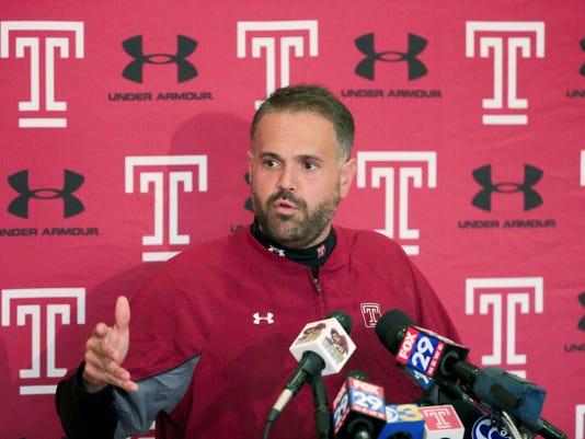 Temple head coach Matt Rhule speaks with members of the media at the NCAA college football team's practice facility, Tuesday, Oct. 27, 2015, in Philadelphia. (AP Photo/Matt Rourke)