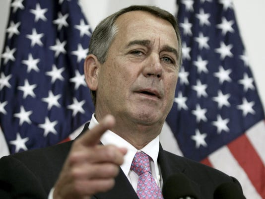 In this Oct. 27, 2015, photo, outgoing House Speaker John Boehner of Ohio talks with reporters on Capitol Hill in Washington. The House is ready to vote on a bipartisan pact charting a two-year budget truce, and Republicans are set to nominate Rep. Paul Ryan as the chamber's new speaker. GOP leaders hope that both events Wednesday will help transform their party's recent chaos into calm in time for next year's presidential and congressional campaigns.  (AP Photo/Lauren Victoria Burke)