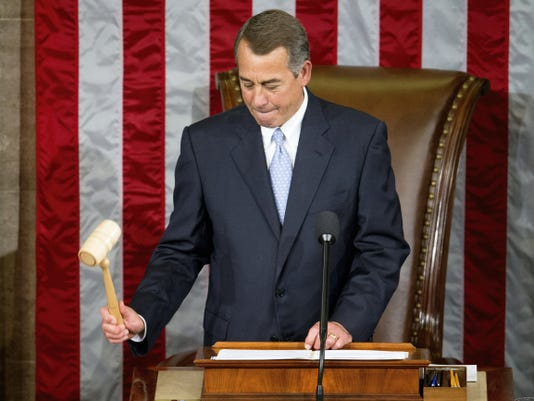 Outgoing House Speaker John Boehner of Ohio gavels in the House Chamber on Capitol Hill in Washington, Thursday, Oct. 29, 2015, as Rep. Paul Ryan, R-Wis., is expected to be voted in as the new House Speaker. (AP Photo/Andrew Harnik)