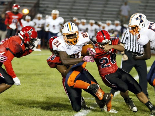 William Penn's Khalid Dorsey scored a touchdown on a 57-yard pass in the second quarter during Friday's game at McCaskey High School in Lancaster. The Bearcats lost, 31-12.