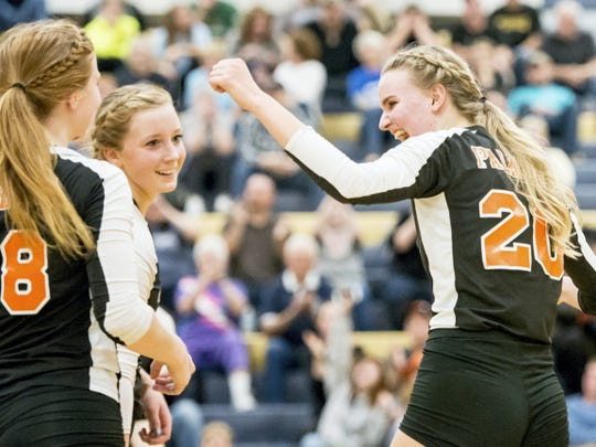 Palmrya's Molly Gundermann (20) right, celebrates with