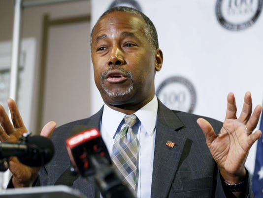 FILE - In this Oct. 29, 2015 file photo, Republican presidential candidate Ben Carson speaks in Lakewood, Colo. Carson's campaign says the Republican White House hopeful was not offered a formal scholarship to the United States Military Academy at West Point as he wrote in his autobiography. (AP Photo/David Zalubowski, File)