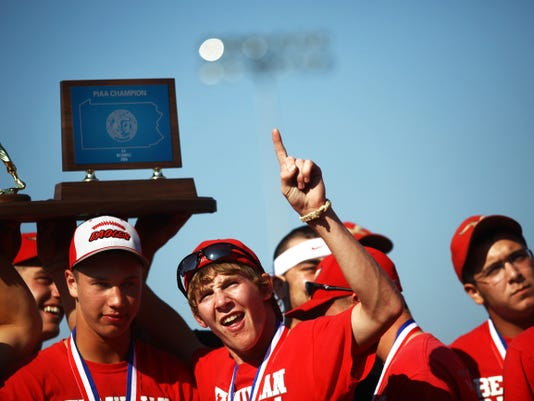 Bermudian Springs baseball team members celebrate its 2010 state championship win at the high school stadium. The PIAA Class AA baseball championship was the first state title in school history.
