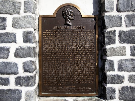 This marker facing North Railroad Street details President Lincoln's brief stop and remarks in Hanover on his way to deliver the Gettysburg Address.
