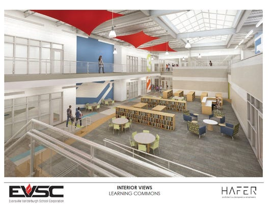 A rendering of EVSC's new McCutchanville Elementary School learning commons. The facility will be built in the North High School attendance district, set to open for the 2018-19 school year.